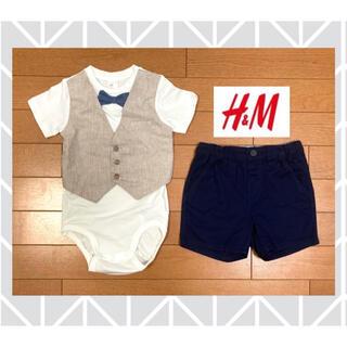 エイチアンドエム(H&M)の新品H&Mエイチアンドエム蝶ネクタイロンパースショートパンツ85cm男の子(ロンパース)