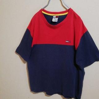 トミー(TOMMY)のトミージーンズ 半袖 Tシャツ Lサイズ 青 赤 ロゴ入り 90s(Tシャツ/カットソー(半袖/袖なし))