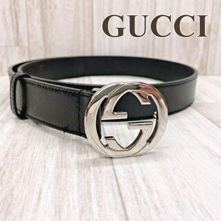 グッチ(Gucci)のグッチ ベルト インターロッキングG 114874 80/32 レザー ブラック(ベルト)
