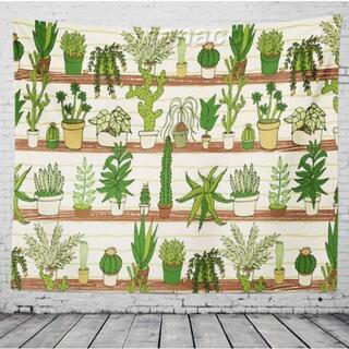 150×130 鉢植え×サボテン 柄 タペストリー マルチカバー 生地 布