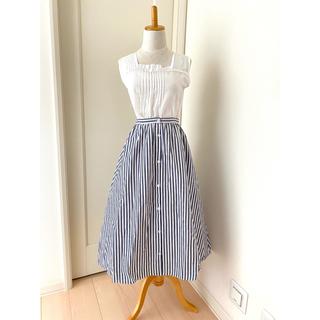 テチチ(Techichi)のLugnoncure  ストライプ 紺色 ロングスカート 美品(ロングスカート)