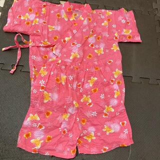 ニシマツヤ(西松屋)の美品 甚平 女の子 95cm ピンク 綿100 (甚平/浴衣)