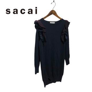 sacai luck - 【sacai luck】異素材 袖フリル ニットワンピース 2