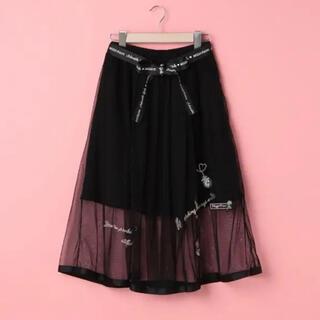 メゾピアノジュニア(mezzo piano junior)のメゾピアノタグ付きリボンベルト刺繍ティーパーティーチュールスカート160(スカート)