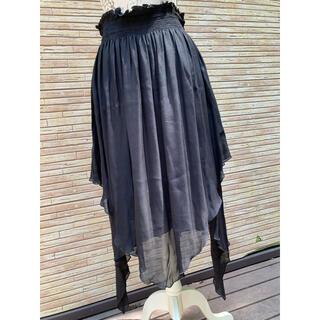 ユーバイウンガロ(U by ungaro)のungaro FEVER ウンガロフィーバー 変形 シルクスカート 黒 42(ロングスカート)