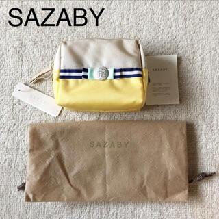 サザビー(SAZABY)のサザビー ポーチ レモンイエロー ナイロン×レザー SAZABY 定価9000円(ポーチ)