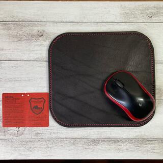栃木レザー - 本革 栃木レザー マウスパッド 赤ステッチ