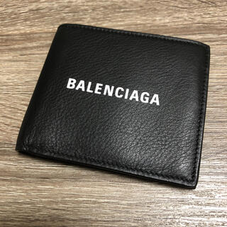 バレンシアガ(Balenciaga)の美品 バレンシアガ エブリデイ 二つ折り財布 ロゴ レザー ブラック(折り財布)
