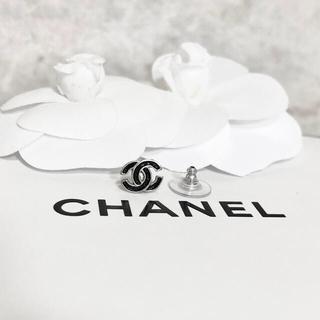 CHANEL - 正規品 シャネル ピアス 片方 ミニ シルバー ココマーク ロゴ 銀 ブラック