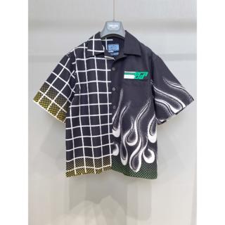 PRADA - PRADA ダブルマッチコットン半袖シャツ ボーリング