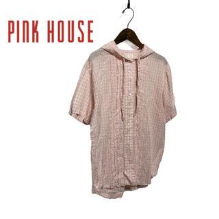 ピンクハウス(PINK HOUSE)の【PINK HOUSE】ピンクチェック、フリルシャツ(シャツ/ブラウス(半袖/袖なし))