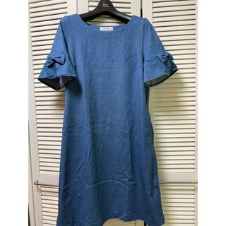 クチュールブローチ(Couture Brooch)のCouture Brooch ブルーのストレッチワンピース(ひざ丈ワンピース)