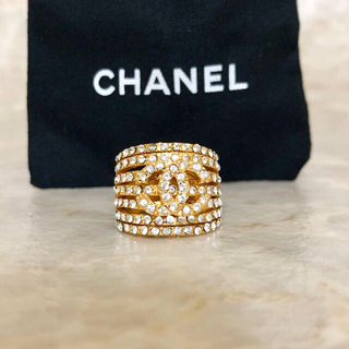CHANEL - 正規品 シャネル 指輪 ゴールド ラインストーン ココマーク 金 リング 透かし