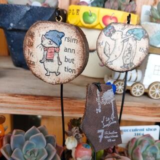 ゲリラお値下げ!揺れる桜の木の猫ちゃんピック&本革ピックの3本セット♪(その他)