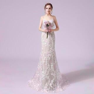 花柄刺繍 フィッシュテール ウエディングドレス 二次会 パーティードレス