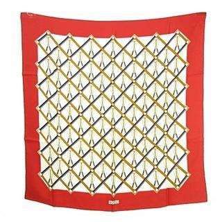 グッチ(Gucci)のグッチ GUCCI シルク スカーフ 正方形 オールド ヴィンテージ 60s 赤(バンダナ/スカーフ)