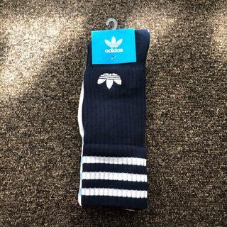 アディダス(adidas)のadidas ハイソックス2足組 紺白セット 【匿名発送】(靴下/タイツ)