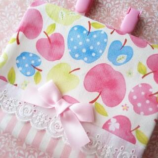 83 移動ポケット りんご ピンク(外出用品)