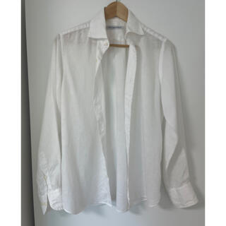 green label relaxing - グリーレーベルリラククシング メンズシャツ麻素材 白メンズ S