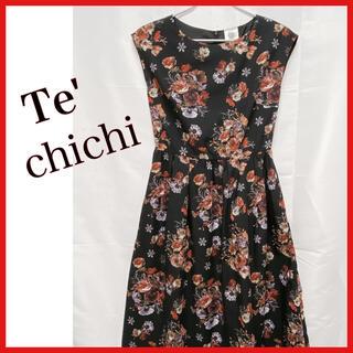 テチチ(Techichi)のテ チチ花柄ワンピース 黒ワンピース フレアワンピース(ロングワンピース/マキシワンピース)