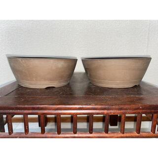 盆栽鉢 鳥泥 丸鉢 松盆栽 鉢 植木鉢 2点セット(その他)