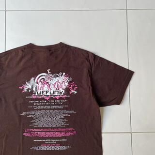 背面プリント 川崎we funkダンスイベント 古着Tシャツ ブラウン(Tシャツ/カットソー(半袖/袖なし))