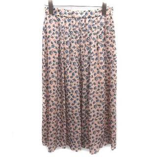 アナイ(ANAYI)のアナイ 20SS ギャザースカート フレア 花柄 36 S ピンクベージュ 青(ロングスカート)
