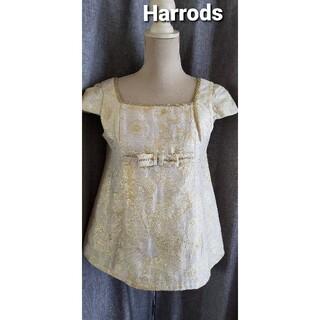 ハロッズ(Harrods)の大変美品 Harros 日本製 可愛いゴールド系のドールブラウス リボン(シャツ/ブラウス(半袖/袖なし))