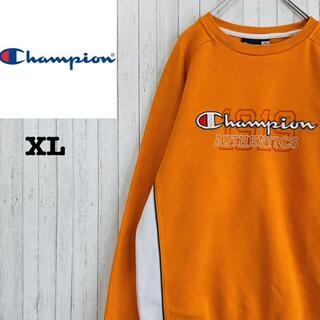 チャンピオン(Champion)のチャンピオン トレーナー スウェット 刺繍ロゴ ビッグロゴ オレンジ XL(スウェット)