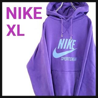 NIKE - 【希少】ナイキ NIKE パーカー ビッグスウッシュ ロゴ パープル 紫 XL