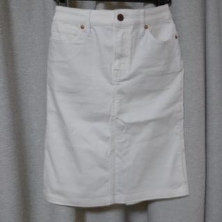 ムジルシリョウヒン(MUJI (無印良品))の白 デニムスカート(ひざ丈スカート)