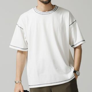 nano・universe - 【新品】tシャツTシャツ カラーダブルステッチワイドTシャツ ホワイト