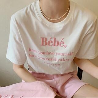 ZARA - インスタ話題♥Bebe ロゴ Tシャツ 白 ピンク 韓国 プルオーバー ZARA