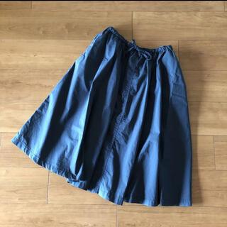 ムジルシリョウヒン(MUJI (無印良品))の無印 サーキュラースカート ギャザースカート リボン L ネイビー(ひざ丈スカート)