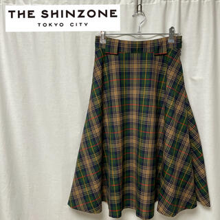 シンゾーン(Shinzone)のTHESHINZONE シンゾーン チェック フレア スカート 匿名配送(ロングスカート)