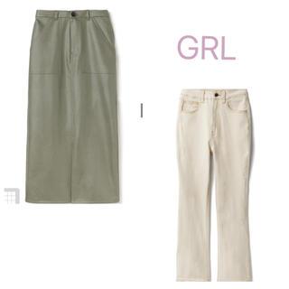 グレイル(GRL)のグレイル GRL セミフレアパンツ デニム レザースカート(ひざ丈スカート)
