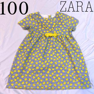 ZARA - 【ZARA】ワンピース チュニック 水玉 リボン 黄色