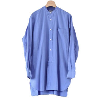 COMOLI - 21SS comoli バンドカラーシャツ サックス コモリ