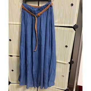 オリーブデオリーブ(OLIVEdesOLIVE)のOLIVE des OLIVE マキシスカート ブルー ベルト付き(ロングスカート)