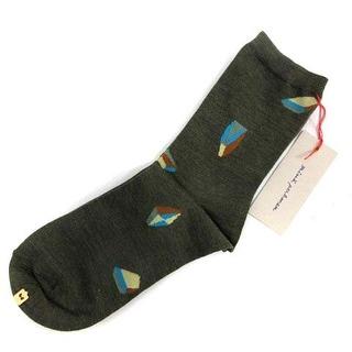 ミナペルホネン(mina perhonen)のミナペルホネン ソックス 靴下 ウール 22.0cm 24.0cm 緑(ソックス)