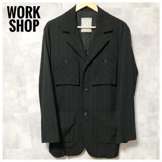 ワイズ(Y's)の極美品⭐️Y's WORK SHOP テーラードジャケット ダブルストライプ 黒(テーラードジャケット)