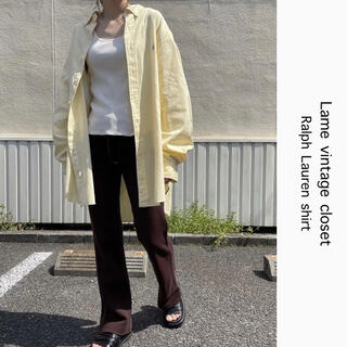 Ralph Lauren - 90s 古着 ラルフローレン 刺繍ロゴ シャツ ペールイエロー ビンテージ