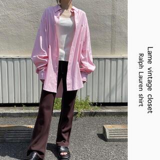 POLO RALPH LAUREN - 90s 古着 ラルフローレン 刺繍ロゴ シャツ ピンク ビンテージ