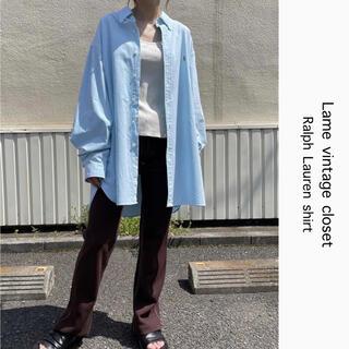 Ralph Lauren - 90s 古着 ラルフローレン 刺繍ロゴ シャツ スカイブルー ビンテージ