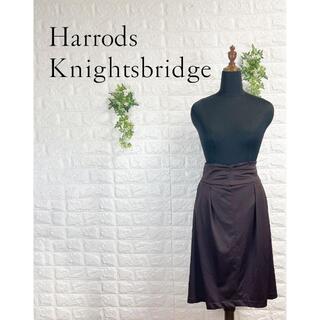 ハロッズ(Harrods)の423 未使用 ハロッズ タック タイトスカート ブラウン 茶色 M(ひざ丈スカート)