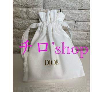 Dior - ディオール 巾着 ホワイト × ゴールド ポーチ DIOR