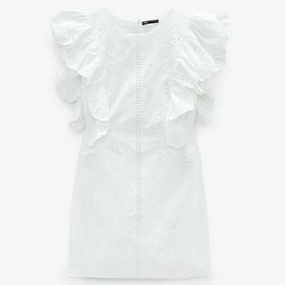ZARA - 新品 Mサイズ ZARA 刺繍入り ワンピース 白 ホワイト ザラ