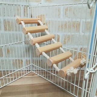 鳥さんグッズ ケージ内 木製はしご6本タイプ 国産ひのき使用