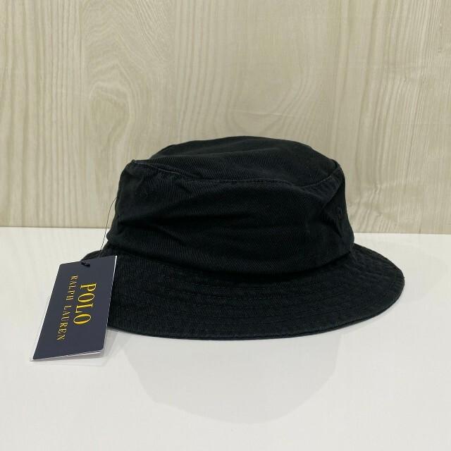 POLO RALPH LAUREN(ポロラルフローレン)の★即購入OK★ポロラルフローレン バケットハット 黒 ロゴ レディースの帽子(ハット)の商品写真