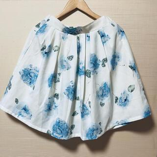 グレイル(GRL)のGRL 水色花柄スカート(ひざ丈スカート)